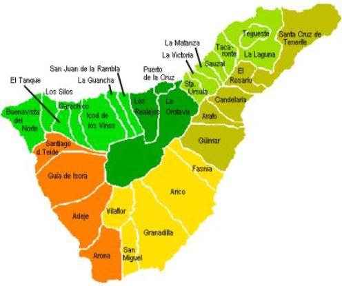 Mapa de municipios de Tenerife